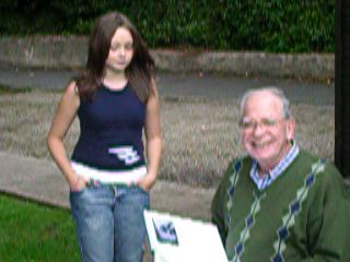 Gerry having his first look at the birthday book, August 2006